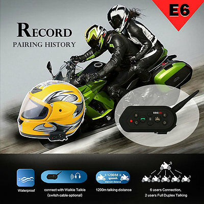 EJEAS-E6 1200M Motorcycle Bluetooth Helmet Intercom Wireless Intercomunicador CR
