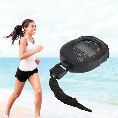 Waterproof Digital LCD Stopwatch Chronograph Timer Counter Sports Alarm CR
