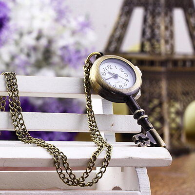 Retro Vintage Pocket Key-shaped Watch Necklace Wall Chart Pendant CR