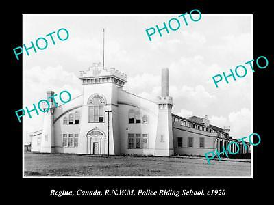 OLD HISTORIC PHOTO OF REGINA, ROYAL CANADIAN MOUNTED POLICE RIDING SCHOOL c1920