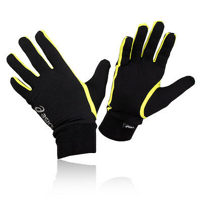 Asics Hombre Mujer Negro Amarillo Transpirable Ligero Running Guantes Correr