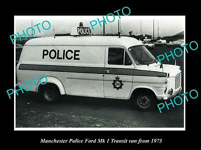OLD LARGE HISTORIC PHOTO OF MANCHESTER POLICE FORD TRANSIT PATROL VAN c1975