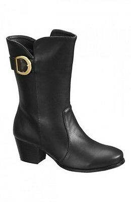 New Black Buckle Trim Western Style Heel Mid Calf Boots. Size 3/euro 36