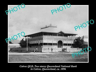 Old Large Historic Photo Of Cairns Qld, Queensland National Bank Building 1896