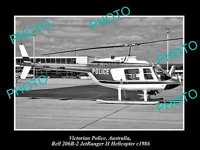 Old Large Historic Photo Of Victorian Police Bell Jetranger Helicopter 1986