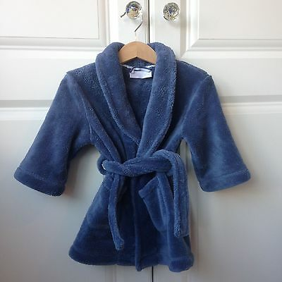 Little White Company Blue Dressing Gown Robe 12-18 months Very Prince George!