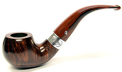 Peterson Harp Sterling Silver Mounted Apple Bent Pipe with Free Pipe Tool (03)