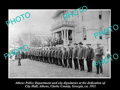 OLD LARGE HISTORIC PHOTO OF ATHENS GEORGIA, POLICE DEPARTMENT AT CITY HALL c1911