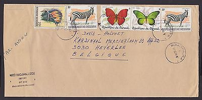 BT4998- Burundi 1986 Butterfly & WWF Overprinted stamps used on cover to Belgium