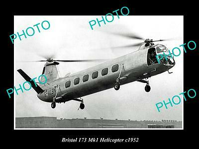 OLD LARGE HISTORIC PHOTO OF BRISTOL AEROPLANE Co 173 Mk 1 HELICOPTER c1952