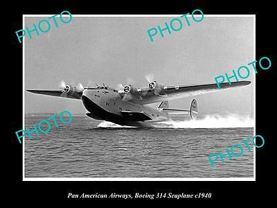 OLD LARGE HISTORIC AVIATION PHOTO OF PAN AM BOEING SEAPLANE 314, c1940