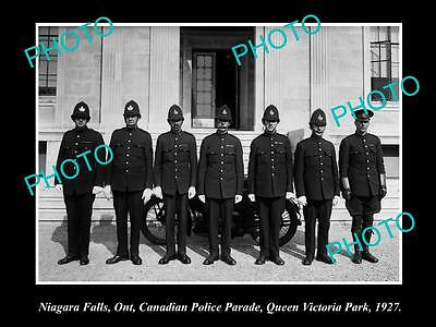 OLD LARGE HISTORIC PHOTO OF NIAGRA FALLS, ONTARIO, CANADIAN POLICE PARADE c1927