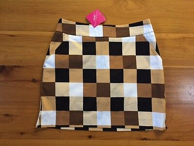 LoudMouth Ladies golf skort skirt block pattern Sz 2 - new with tags