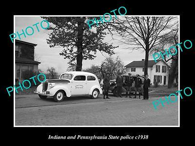 Old Large Historic Photo Of Indiana & Pennsylvania State Police Patrol Cars 1958