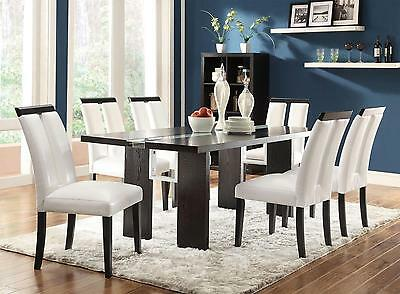 Coaster 104561 563 Kenneth 7 Piece Black Dining Table White Chairs Set