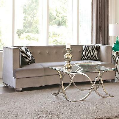 Coaster Furniture 505881 Caldwell Sofa With Silver Velvet Upholstery