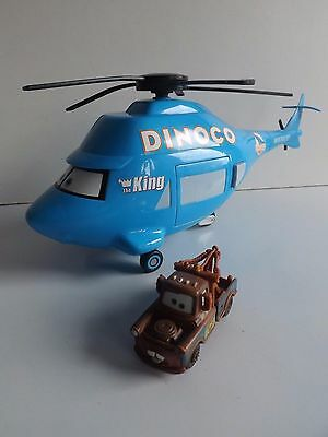 """Disney Pixar Cars 14"""" Talking Dinoco Helicopter With Die Cast Mater Truck"""