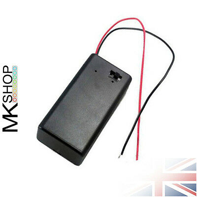 9V PP3 Enclosed Battery Holder with ON/OFF Switch Wire 9 Volt Box Pack Power