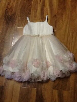 Monsoon Girls Ivory Rose Party Dress Aged 6 Years Old
