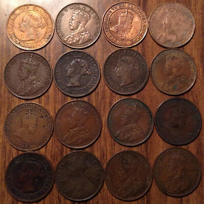 Lot Of 16 Canada Large Cents Lot Of 16 Coins Vickies/edward/george #a1