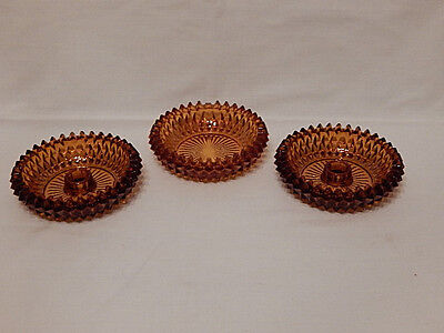 Vintage Amber English Hobnail 3 Pcs Set 2 Candle Holders 1 Candy or Nut Dish