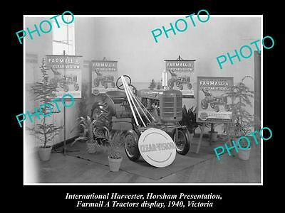 OLD HISTORIC PHOTO OF INTERNATIONAL HARVESTER FARMALL A TRACTOR DISPLAY c1940