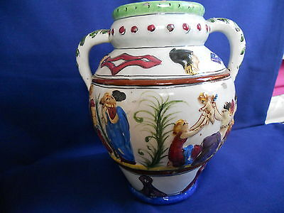 Vintage Italian Majolica Twin Handled Vase -  Assisi Made in Italy
