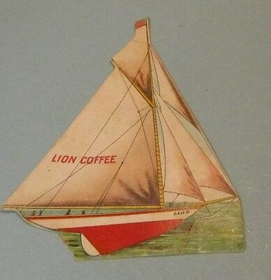 1890's Lion Coffee Toy Sailboat Yacht Victorian Trade Card US Flag Rare Issue