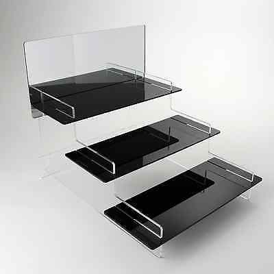 Tiered Watch Display Stand, Retail, Home, Black Acrylic, 3 Sizes, 4 Designs