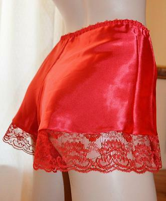 """Red Glossy silky vintage wet look Satin & lace French knickers 32""""-40"""""""