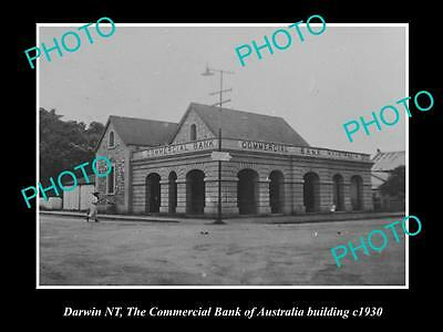 OLD LARGE HISTORIC PHOTO OF DARWIN NT, COMMERCIAL BANK OF AUSTRALIA c1930