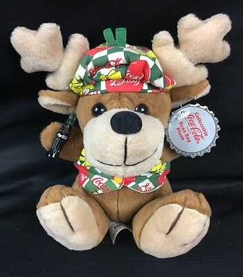 "Coca Cola Stuffed Plush Bean Bag Reindeer in Vest and Beanie 1998 #0168 6"" NWT"