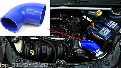 "Blue Silicone Elbow For Ford Fiesta St150 Air Intake to Convert to a 3"" Filter"