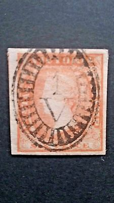 Victoria 1854 SC #17 Woodblock XF-S Four Margin Single with Outstanding SOTN CL