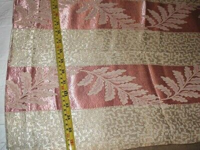 Vintage Fabric with cream and rose with flower print stripe table