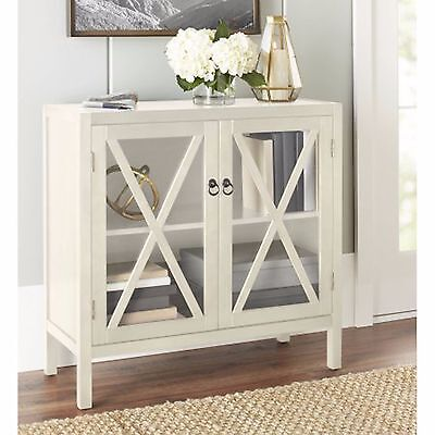 Kitchen Sideboard Storage Cabinet Glass Doors Dining Buffet Ivory