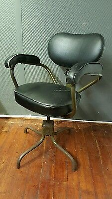 Vintage Retro 1950's Industrial Leather Swivel Chair on a Steel Frame