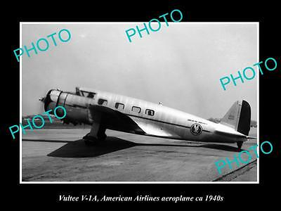 OLD HISTORIC AVIATION PHOTO, VULTEE V1-A AIRCRAFT, AMERICAN AIRLINES c1940