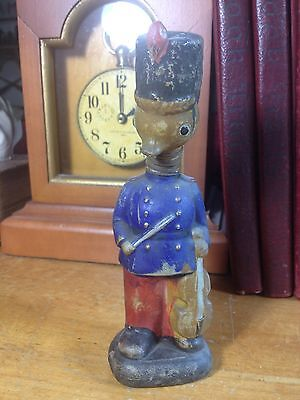 Vintage Paper Mache Duck Soldier/Band Spring Neck Bobble Head Candy Container