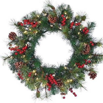 """New Christmas 24"""" Deluxe Hard Needle Alberta Pine Berry Clear Lighted Wreath"""