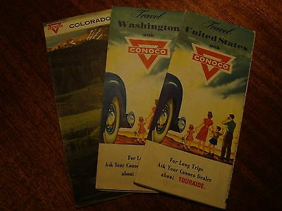 3-Vintage Conoco Road Maps  Great Color Awesome Graphics