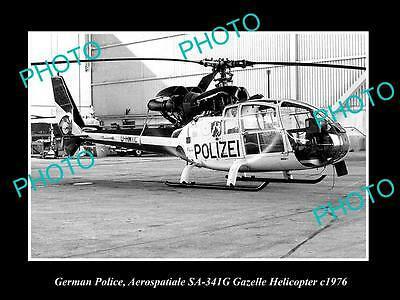 Old Large Historic Photo Of German Police Aerospatiale Gazelle Helicopter 1976