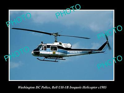 OLD LARGE HISTORIC PHOTO OF WASHINGTON DC POLICE BELL IROQUIOS HELICOPTER c1985
