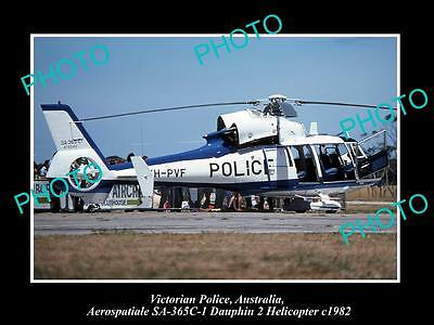 Old Large Historic Photo Of Victorian Police Dauphin 2 Helicopter 1982 Australia