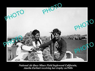OLD HISTORIC AVIATION PHOTO, AMELIA EARHART USA NATIONAL AIR RACE & TROPHY c1940