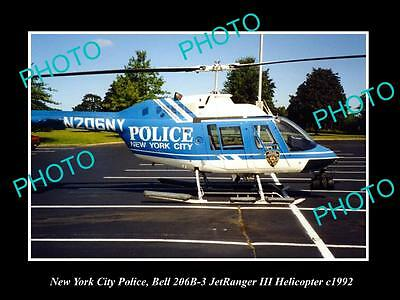 OLD LARGE HISTORIC PHOTO OF NEW YORK CITY POLICE BELL JETRANGER HELICOPTER c1992