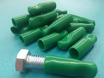 "1/2"" Rubber Bolt Cap Protectors Rod Tube Thread Finger Tip Pull 18 Cover Green"