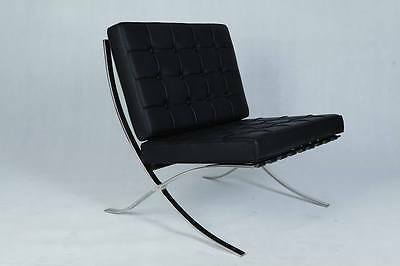 New  Barcelona Chair + Foot Stool Black Real Leather by Mies Van Der Rohe Design