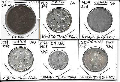 Lot Of 5 Kwang Tung Province Chinese Silver Coins +1 Copper Coin