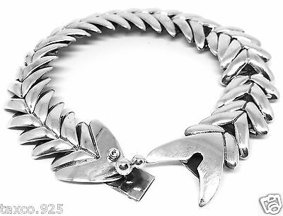Molina Vintage Style Taxco Mexican 925 Sterling Silver Fish Bracelet Mexico